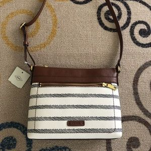 Black and White Fossil Crossbody